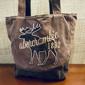 Abercrombie Brown Corduroy and Canvas Moose Tote